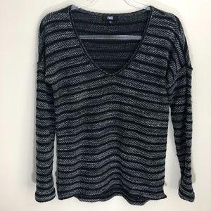 PAIGE Black Gray Striped Sweater XS
